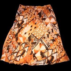 Escada SILK Orange Abstract Print Skirt